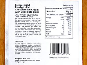 test glace lyophilisee astronaut foods