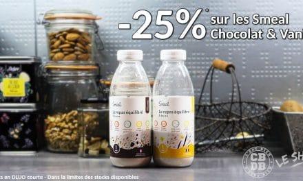Les bouteilles Smeal Chocolat et Vanille en promo